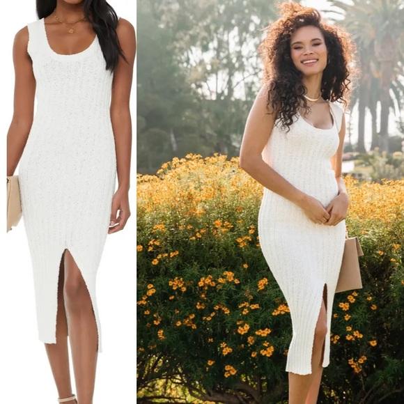 Vici Rosedress Boutique Ivory Sweater Midi Dress S